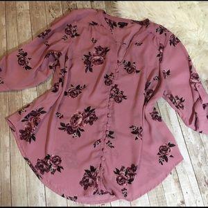 Torrid Floral Button Front Blouse Size 1X
